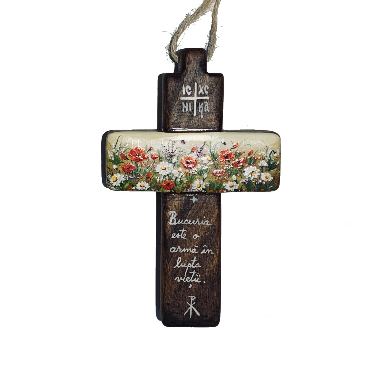 Cruce din lemn de nuc 12_wood cross_icon_hand made_traditional_RafGallery_romanian_art_VR_gallery_shop_360