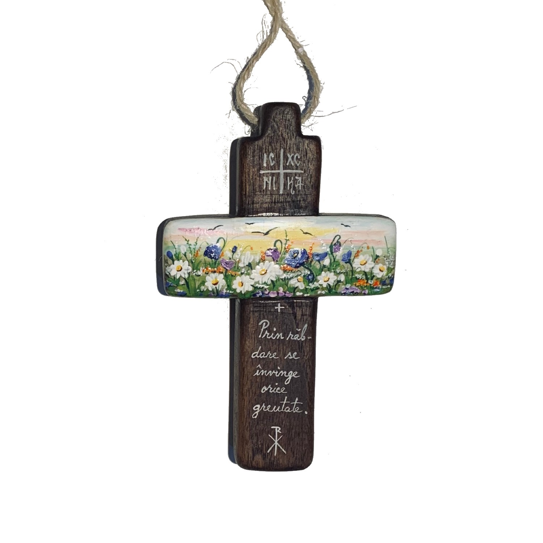 Cruce din lemn de nuc 14_wood cross_icon_hand made_traditional_RafGallery_romanian_art_VR_gallery_shop_360
