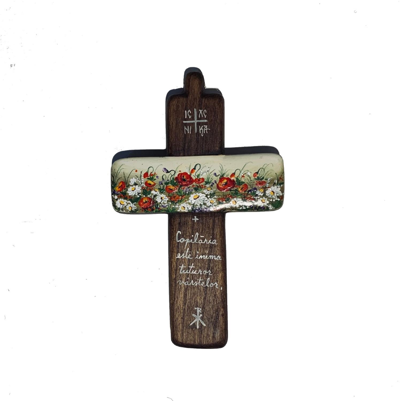 Cruce din lemn de nuc 4_wood cross_icon_hand made_traditional_RafGallery_romanian_art_VR_gallery_shop_360