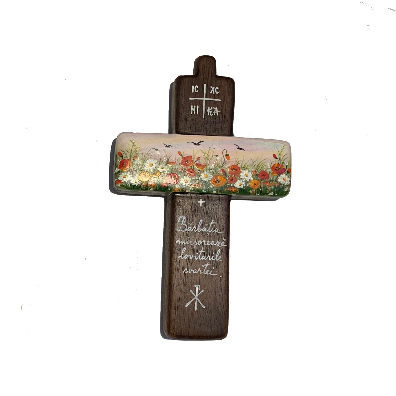 Cruce din lemn de nuc 6_wood cross_icon_hand made_traditional_RafGallery_romanian_art_VR_gallery_shop_360